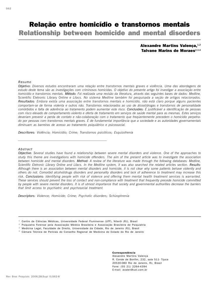 S62            Relação entre homicídio e transtornos mentais         Relationship between homicide and mental disorders   ...
