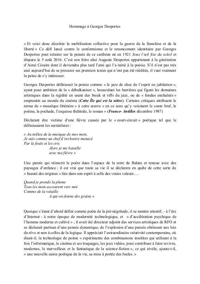 Hommage à Georges Desportes « Et voici donc décrétée la mobilisation collective pour la guerre de la franchise et de la li...
