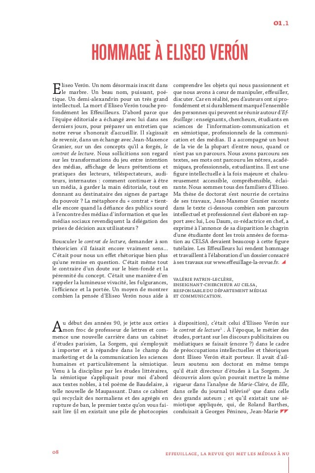 Hommage à Eliséo Véron : article de Jean-Maxence Granier dans la revue Effeuillage Slide 2