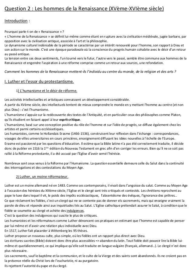 Question 2 : Les hommes de la Renaissance (XVème-XVIème siècle) Introduction : Pourquoi parle-t-on de « Renaissance » ? « ...