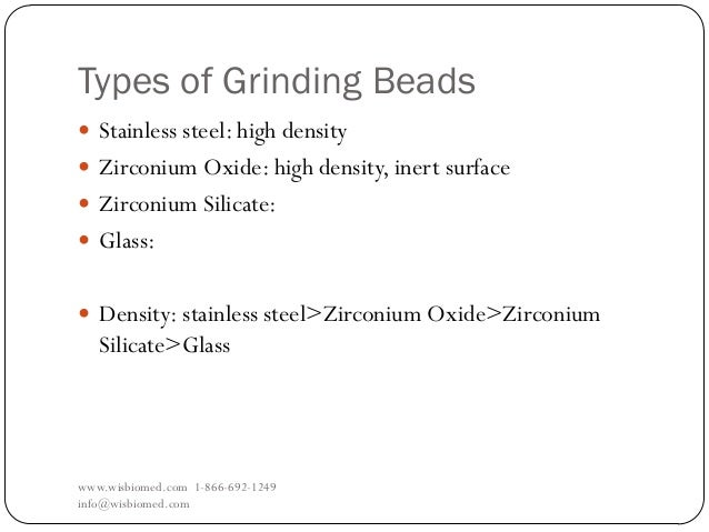 Types of Grinding Beadswww.wisbiomed.com 1-866-692-1249info@wisbiomed.com Stainless steel: high density Zirconium Oxide:...