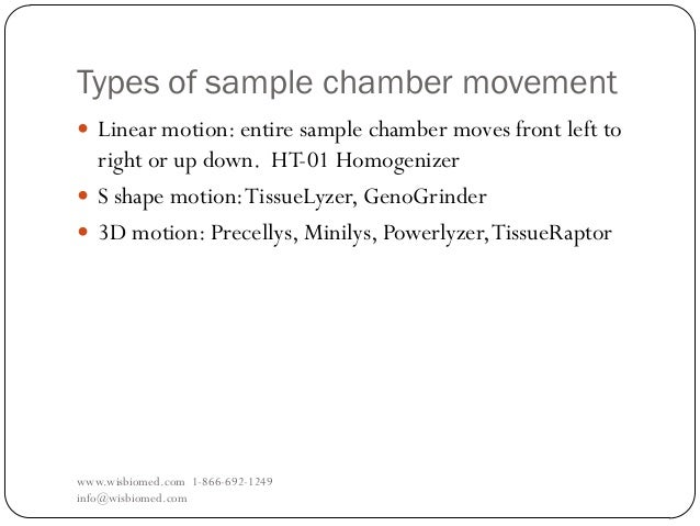 Types of sample chamber movementwww.wisbiomed.com 1-866-692-1249info@wisbiomed.com Linear motion: entire sample chamber m...