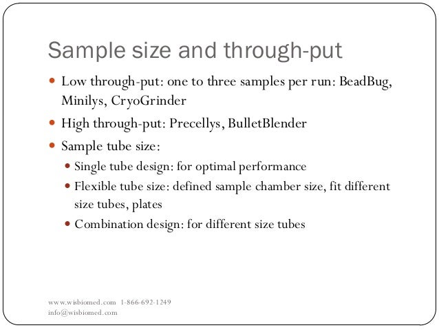Sample size and through-putwww.wisbiomed.com 1-866-692-1249info@wisbiomed.com Low through-put: one to three samples per r...