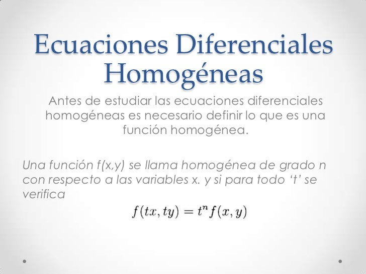 ecuaciones diferenciales homogéneas ejercicios resueltos pdf