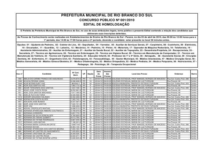 PREFEITURA MUNICIPAL DE RIO BRANCO DO SUL                                                                 CONCURSO PÚBLICO...