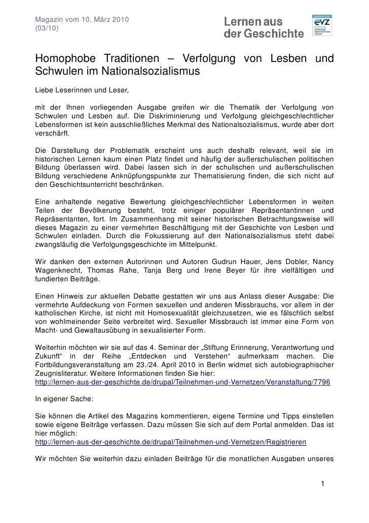 Magazin vom 10. März 2010 (03/10)    Homophobe Traditionen – Verfolgung von Lesben und Schwulen im Nationalsozialismus Lie...