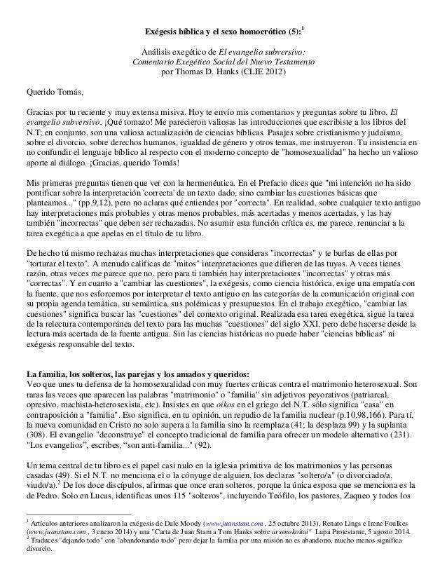 Exégesis bíblica y el sexo homoerótico (5):1 Análisis exegético de El evangelio subversivo: Comentario Exegético Social de...