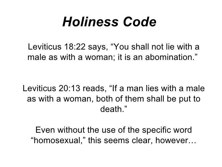 Holiness code homosexuality statistics