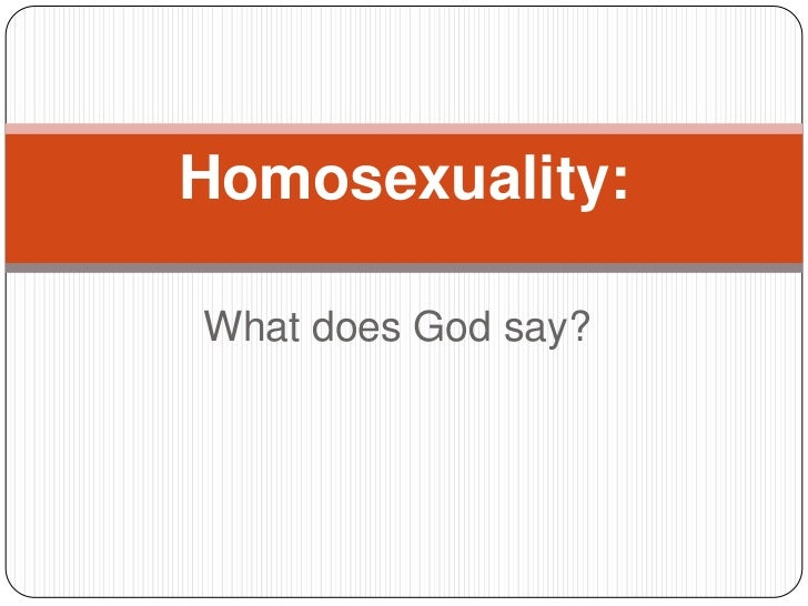 Homosexuality:What does God say?