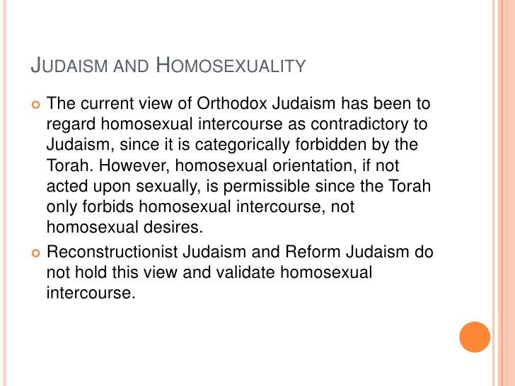 Jewish religion beliefs homosexuality