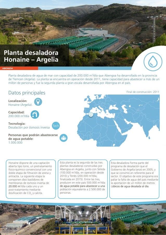 ABENGOA Plantadesaladoradeaguademarconcapacidadde200.000m3 /díaqueAbengoahadesarrolladoenlaprovincia deTlemcen(Argelia).La...