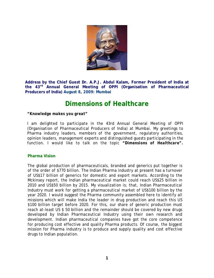 Address by the Chief Guest Dr. A.P.J. Abdul Kalam, Former President of India at the 43rd Annual General Meeting of OPPI (O...