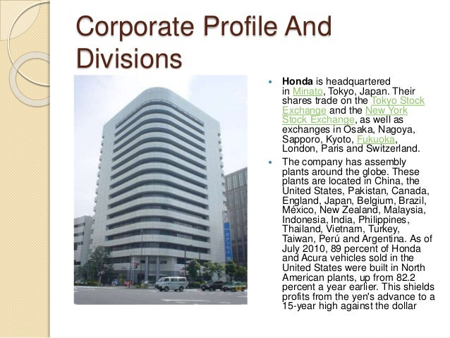 Hondas Name 7 Corporate Profile And Divisions