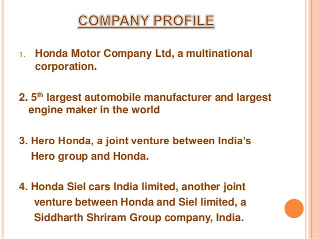 Honda Company Overview And History