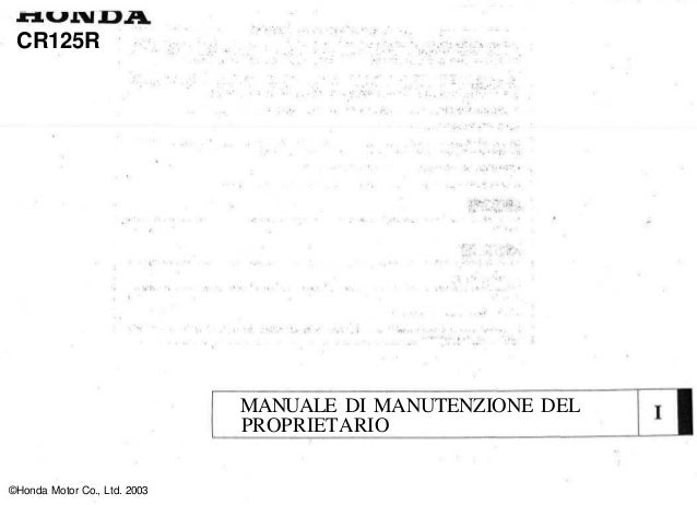 Schema Elettrico Honda Cr 125 : Honda cr r service manual ita