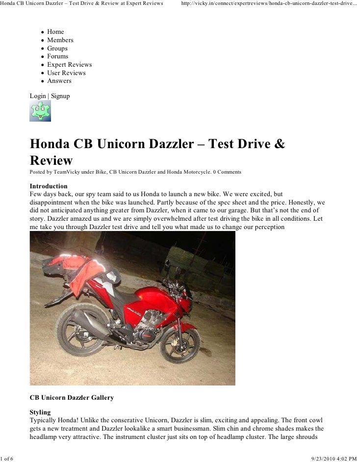 Honda CB Unicorn Dazzler – Test Drive & Review at Expert Reviews      http://vicky.in/connect/expertreviews/honda-cb-unico...