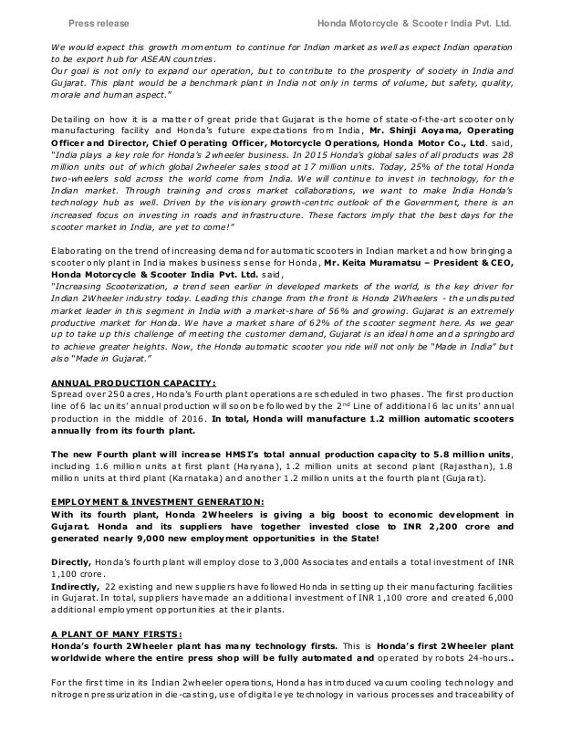 honda inaugurates    wheeler plant  india press release