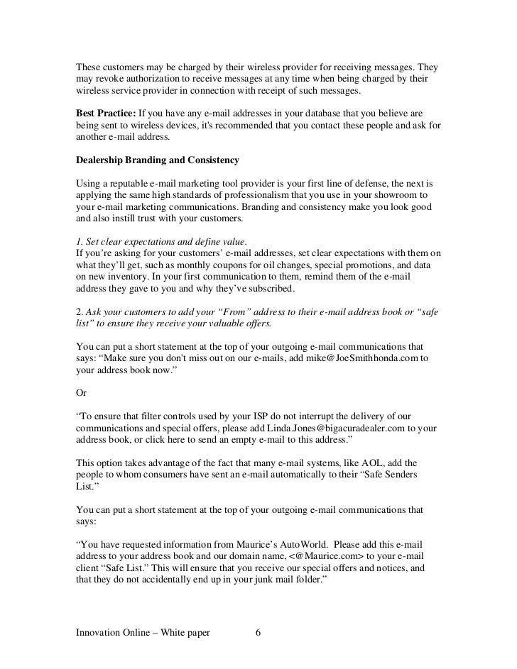 Honda Interactive Network White Paper How To Stop Spam Filte