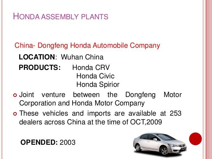 HONDA ASSEMBLY PLANTSChina Dongfeng Honda Automobile