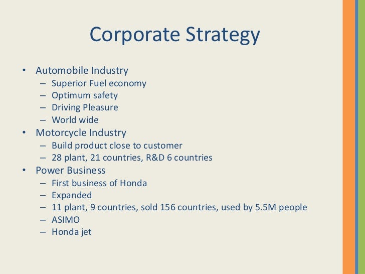 strategy and honda The most recent school of thought on honda's strategy was put forward by gary hamel and c k prahalad in 1989 creating the concept of core competencies with honda as an example, they argued that honda's success was due to its focus on leadership in the technology of internal combustion engines.