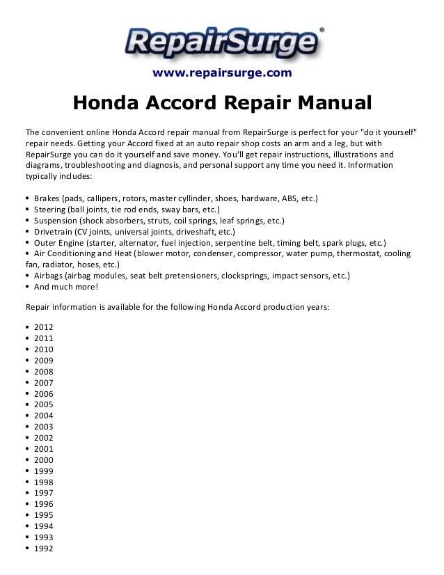 Honda accord repair manual 1990 2012