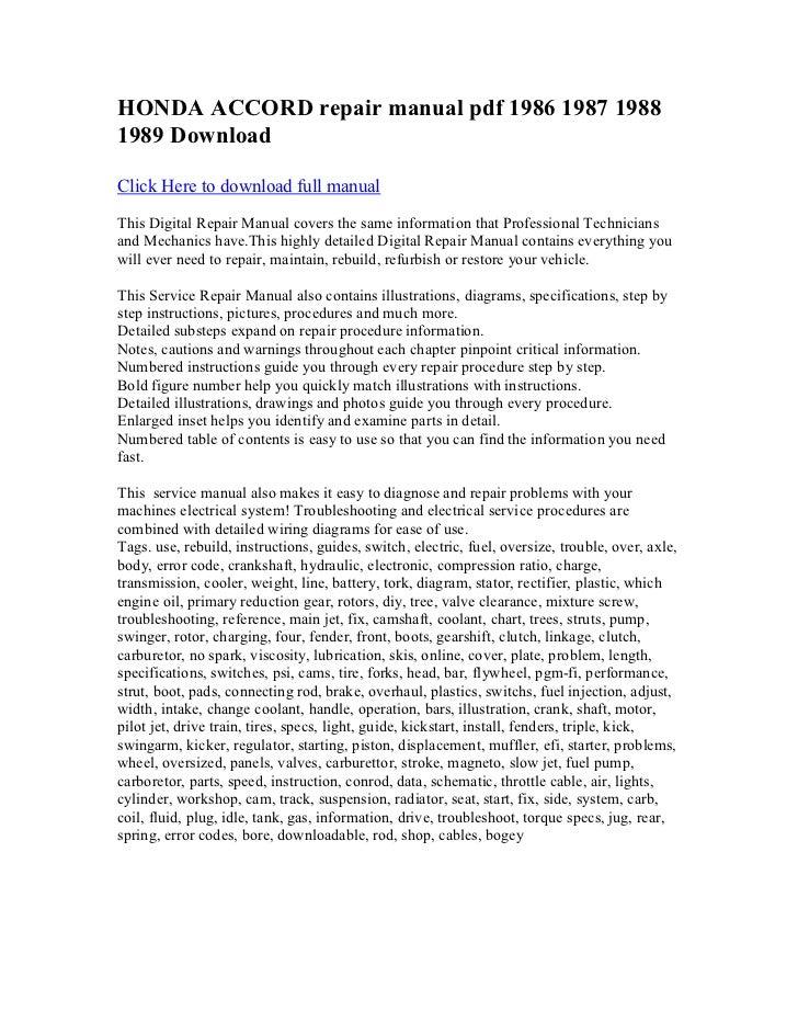 honda accord repair manual pdf 1986 1987 1988 1989 download rh slideshare net Honda Accord Repair Manual Online 1986 honda accord service manual