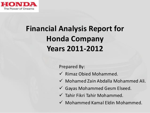 Honda analysis 2011 2012 for Honda finance corporation