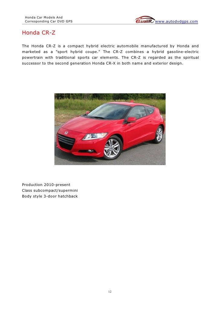 Honda car models and corresponding car dvd gps (autodvdgps)