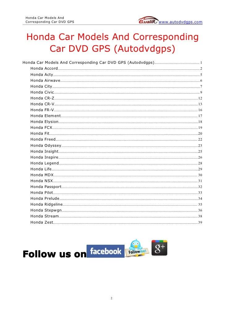 honda car models and corresponding car dvd gps autodvdgps rh slideshare net 1999 Honda Accord Wiring Diagram 2004 Honda Accord Ex Wiring Diagram