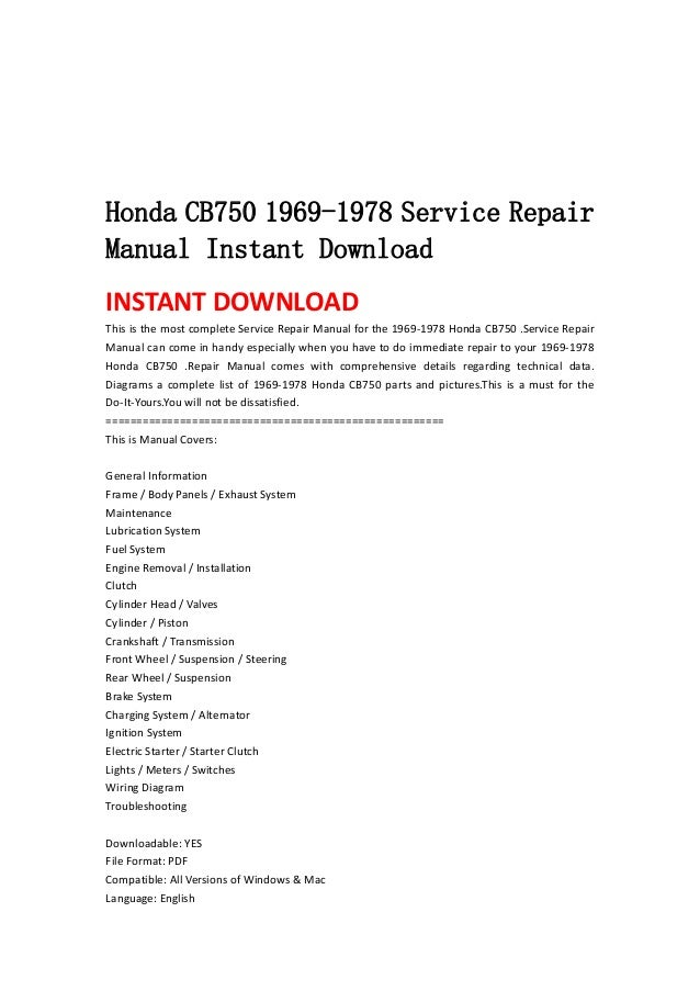 Honda cb750 1969 1978 service repair manual instant download honda cb750 1969 1978 service repairmanual instant downloadinstant download this is the most complete service publicscrutiny Gallery