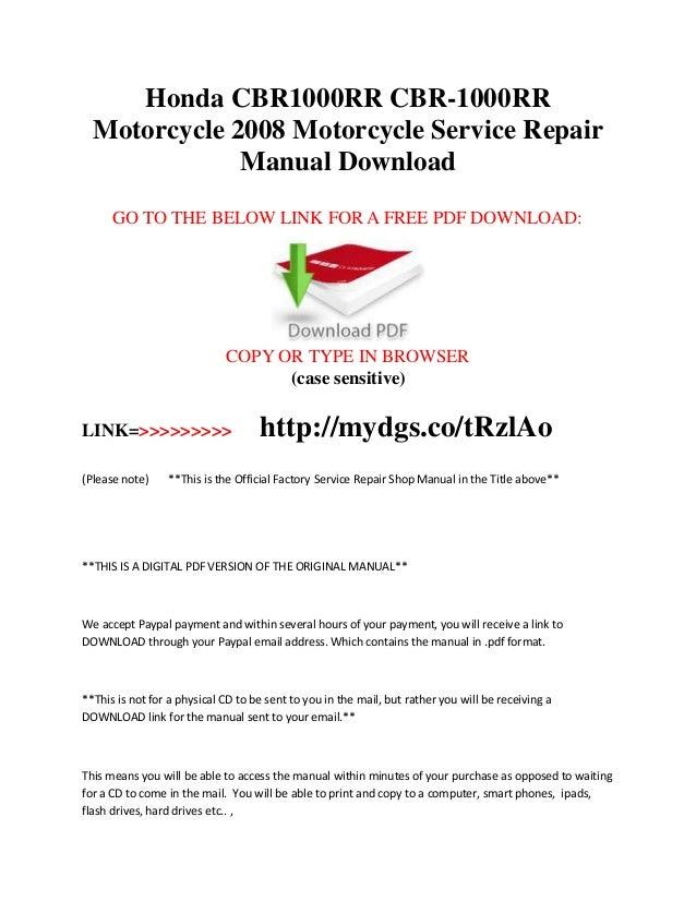 Honda cbr 1000 manual array honda cbr1000 rr cbr 1000rr 2008 service repair manual rh slideshare net fandeluxe Gallery