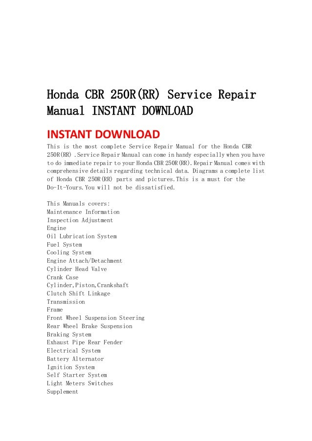 Honda cbr 250 r rr service repair manual instant download for Honda financial services mailing address