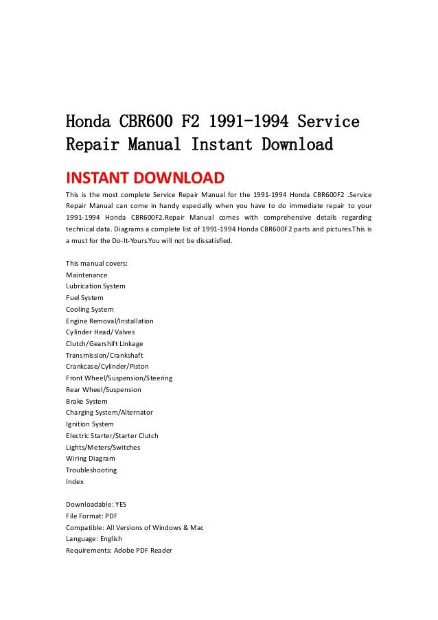 Honda Cbr600 F2 1991 1994 Service Repair Manual Instant Download