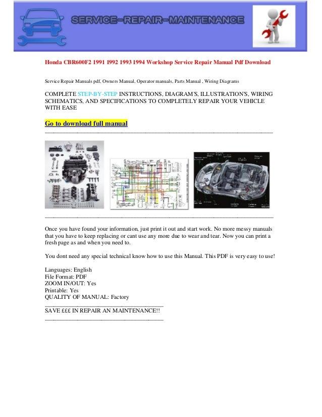 honda cbr600 f2 1991 1992 1993 1994 workshop service repair manual pdf  download