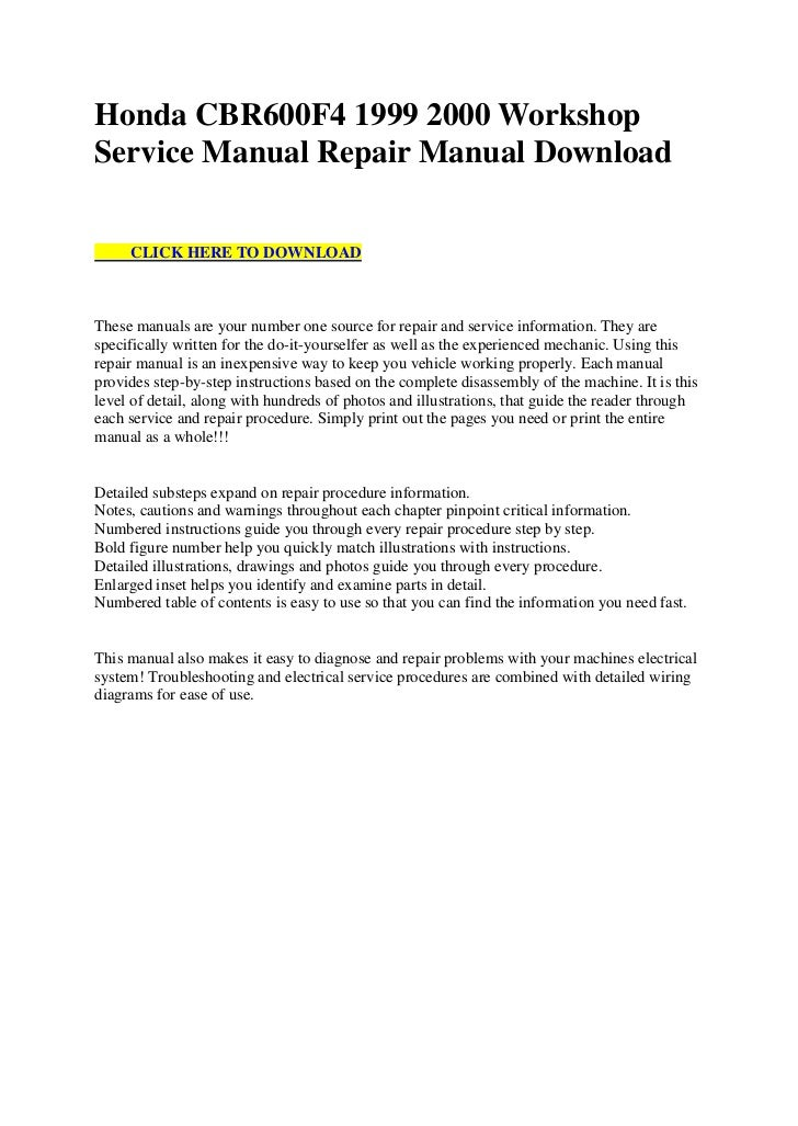 honda cbr600 f4 1999 2000 workshop service manual repair manual download 1 728?cb=1312475011 honda cbr600 f4 1999 2000 workshop service manual repair manual downl 2000 honda cbr 600 f4 wiring diagram at sewacar.co