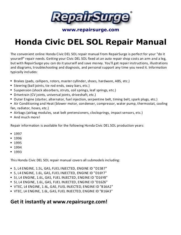 honda civic del sol repair manual 1993 1997 rh slideshare net 2008 honda civic si owners manual 2008 honda civic si owners manual
