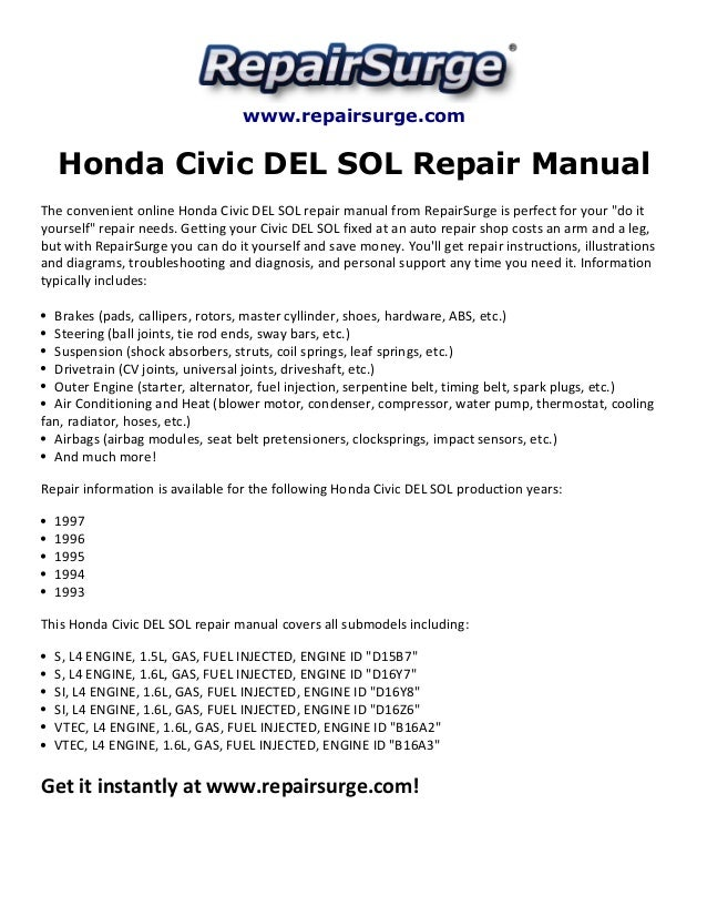 honda civic del sol repair manual 1993 1997 repairsurge com honda civic del sol repair manual the convenient online honda civic