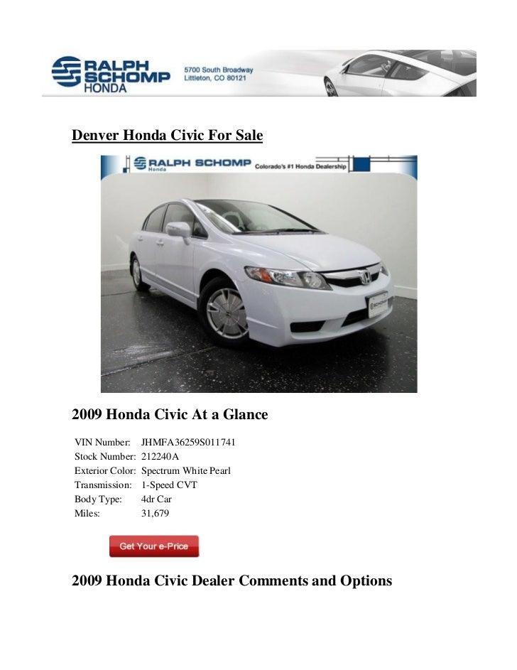 Honda Dealership Denver >> Honda Civic For Sale In Denver