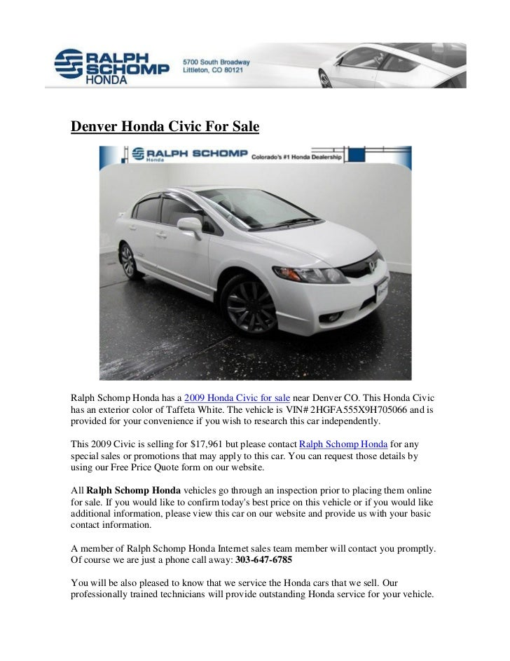 Denver Honda Civic For SaleRalph Schomp Honda Has A 2009 Honda Civic For  Sale Near Denver ...
