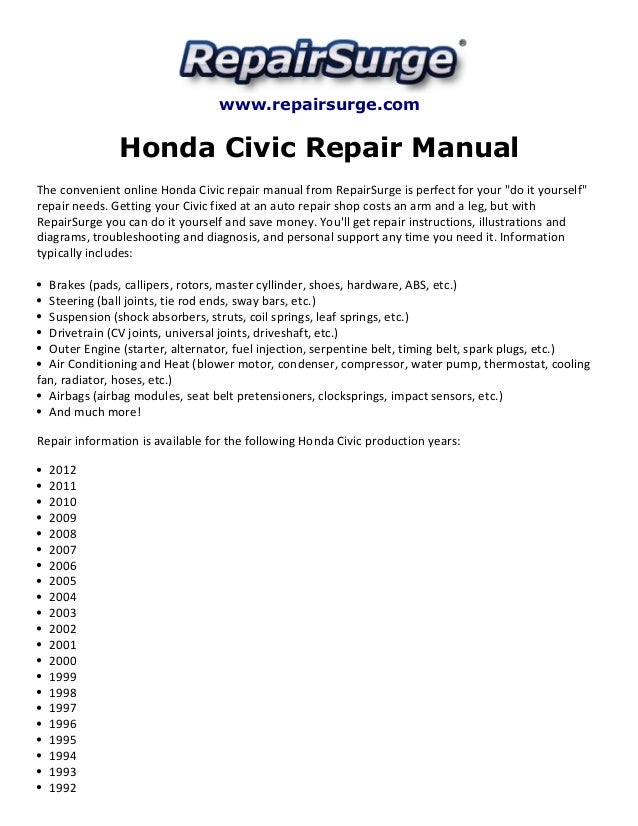 honda civic repair manual 1990 2012 rh slideshare net civic repair manual pdf honda civic repair manual pdf