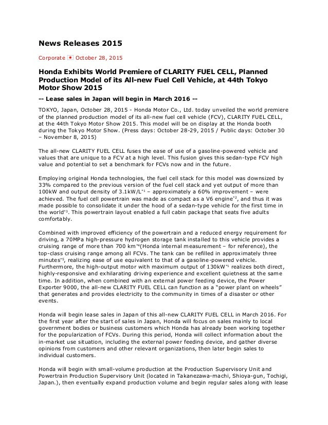 honda clarity fuel cell press release