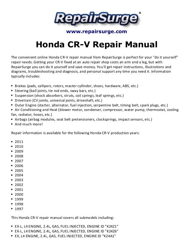 honda cr v repair manual 1997 2011 rh slideshare net honda cr v 2007 repair manual haynes repair manual honda crv 2007