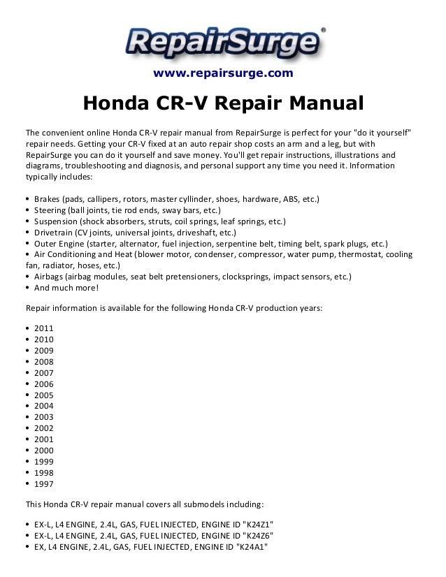 honda cr v repair manual 1997 2011 rh slideshare net 2002 honda crv service manual 2002 honda crv repair manual pdf
