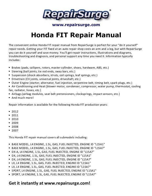 honda fit repair manual 2007 2012 rh slideshare net 2008 honda fit repair manual download 2007 honda fit repair manual free