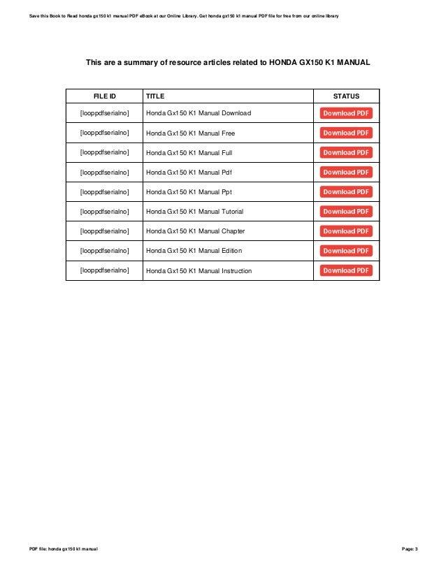 honda gx150 k1 manual rh slideshare net