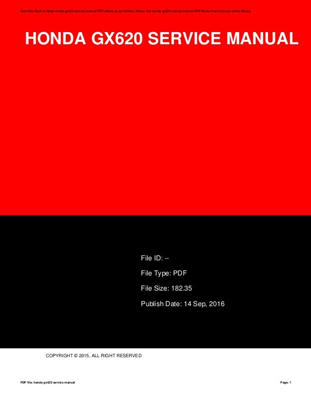 honda gx620 service manual rh slideshare net Operators Manual Manuals in PDF