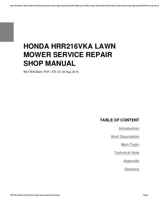 honda hrr216vka lawn mower service repair shop manual rh slideshare net honda hrr216vka owners manual Honda HRR216VKA Shop Manual
