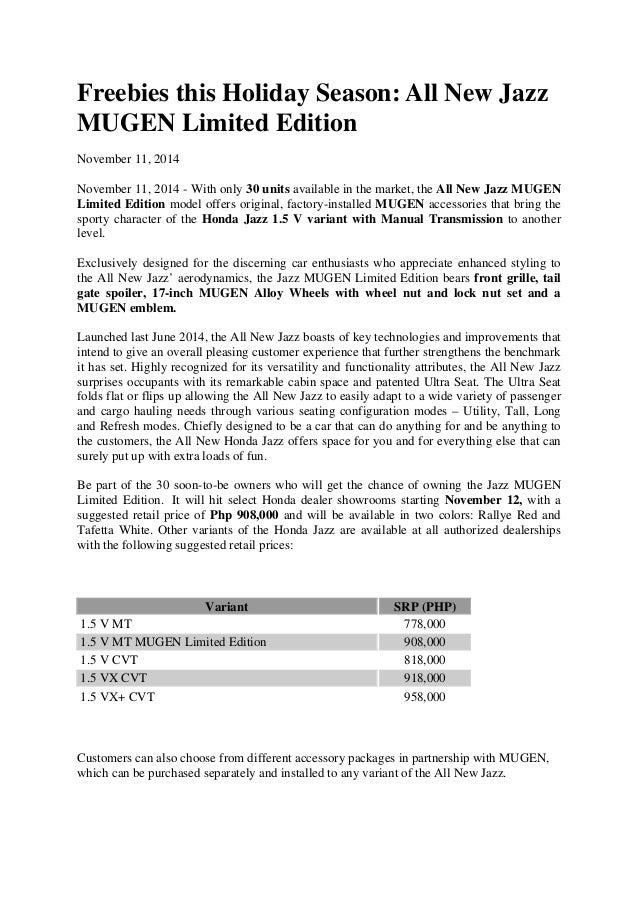 honda jazz mugen edition press release philippines