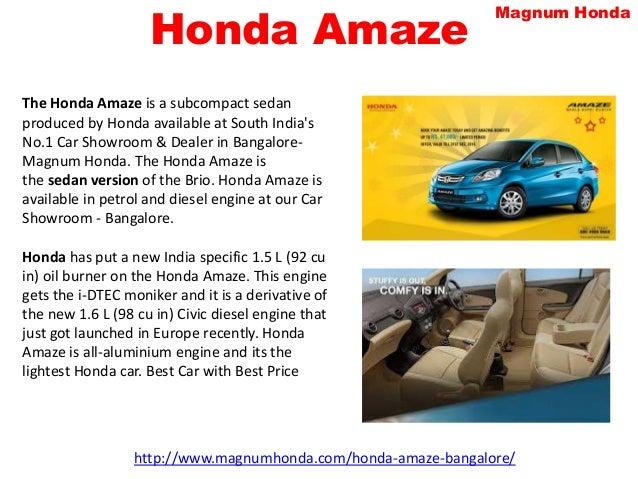 Honda Car Dealers In Bangalore