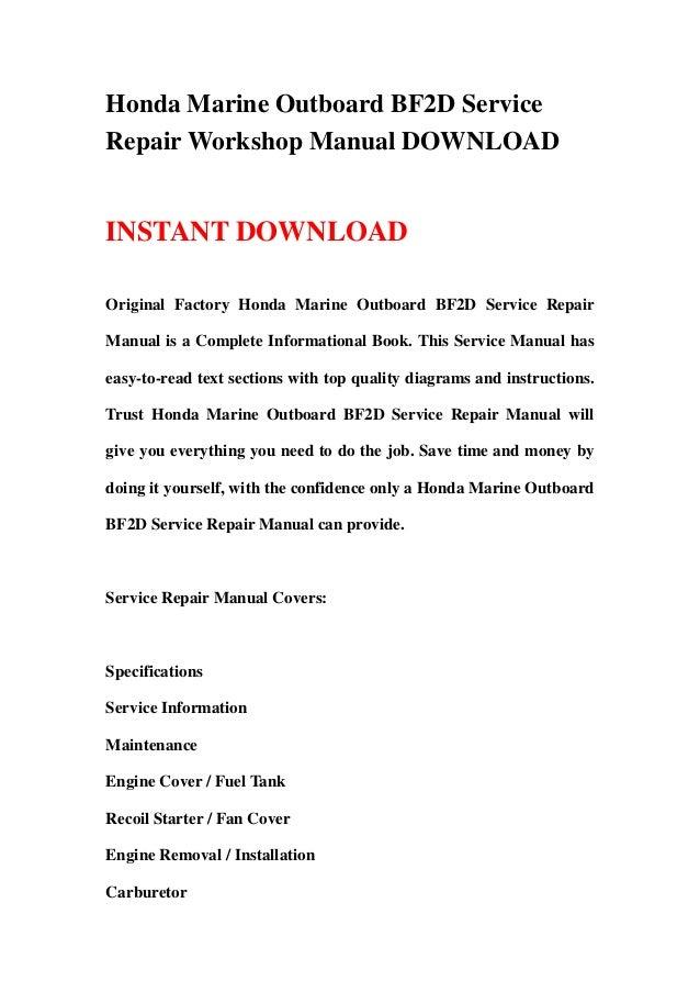 honda marine outboard bf2d service repair manual rh slideshare net bf2d shop manual Tractor Shop Manuals